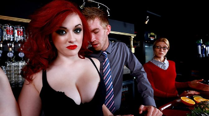 Busty Redhead Jaye Rose in Trying Out the Bar Wench!